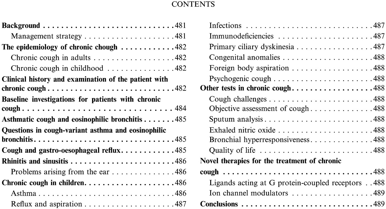 The diagnosis and management of chronic cough | European