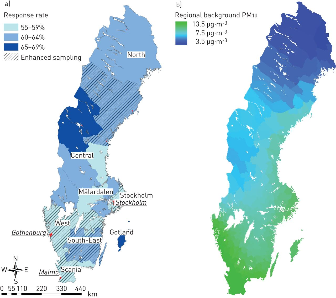 Fine And Coarse Particulate Air Pollution In Relation To - Sweden map of cities