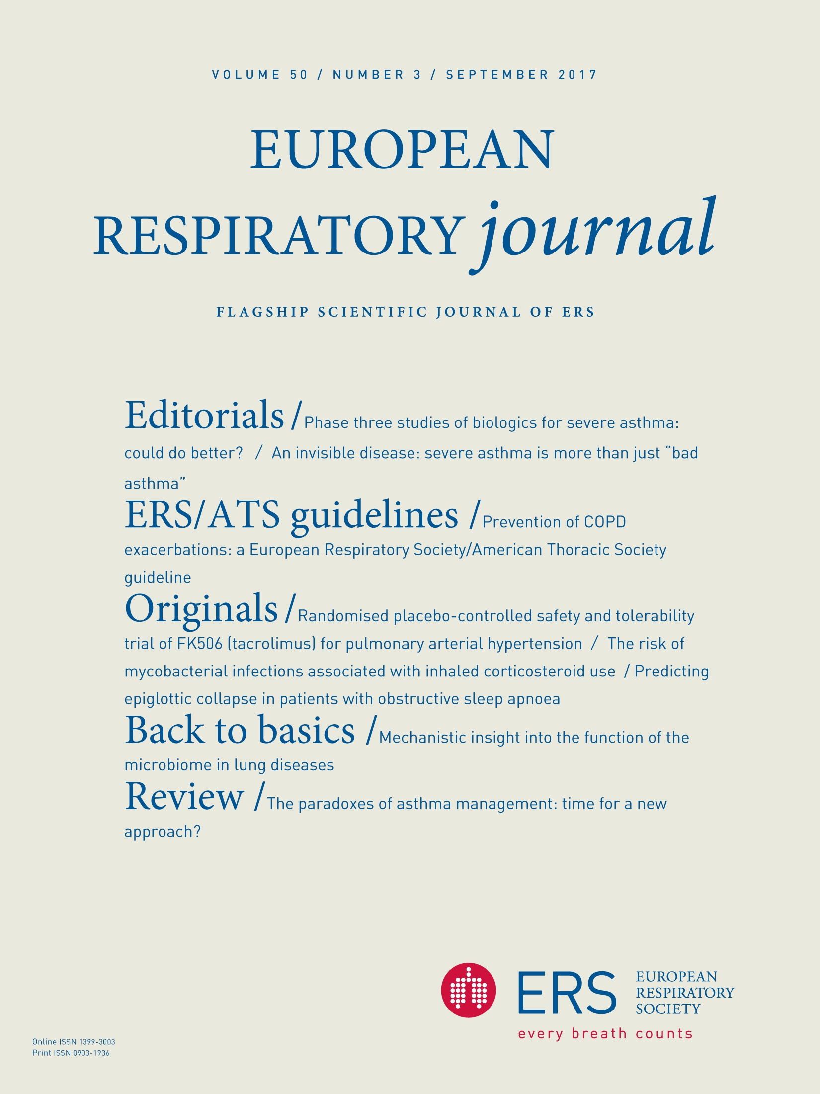 European Respiratory Society guidelines for the management of adult